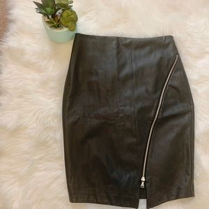 Express | Black Faux Leather Zip Skirt